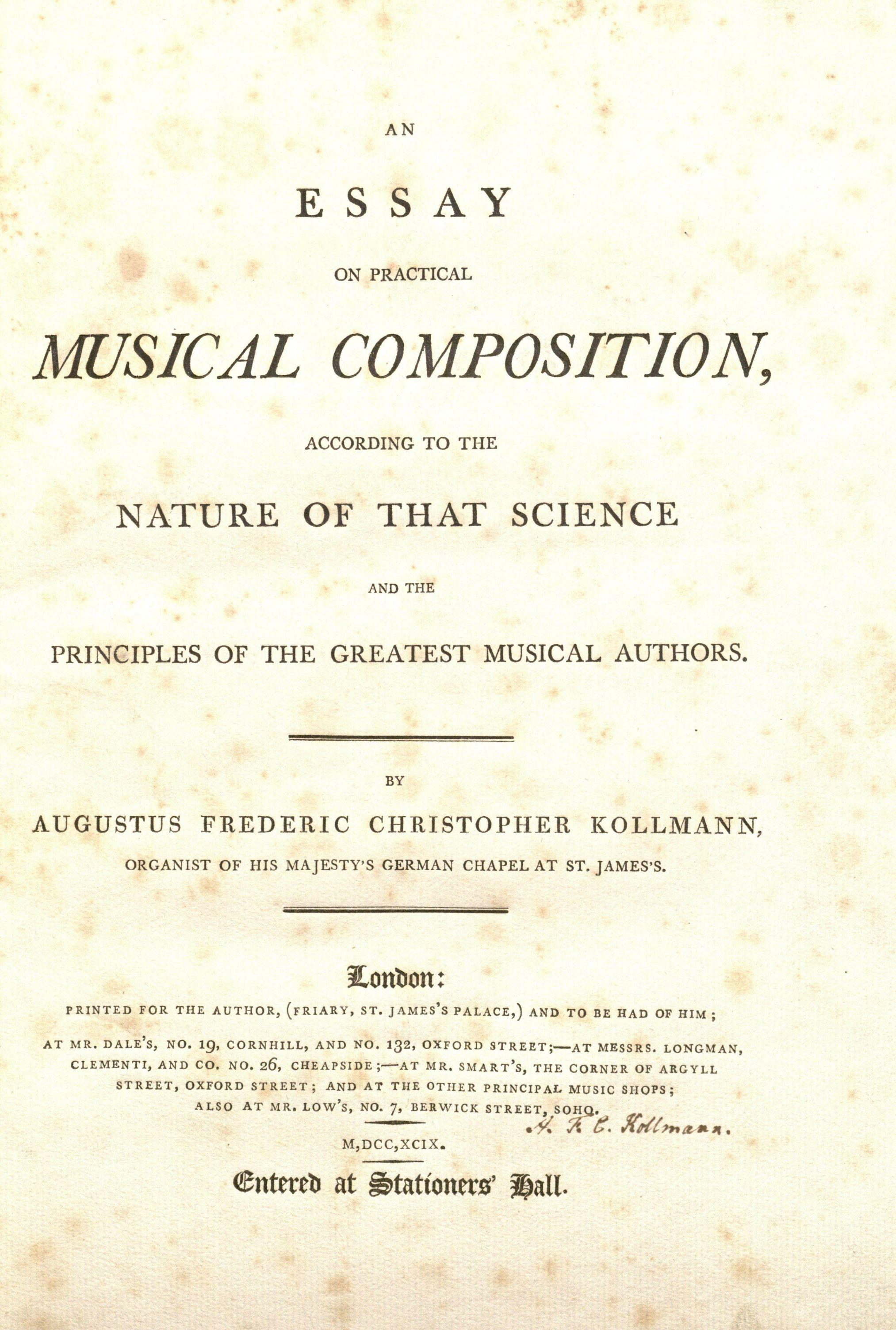 composition god save the king music from the british royal kollmann us frederic christopher 1756 1829 an essay on practical musical composition london author 1799 title page